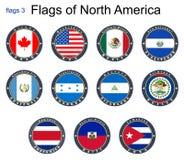 Indicadores de Norteamérica Banderas 3 Imágenes de archivo libres de regalías