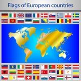Indicadores de países europeos Imagenes de archivo