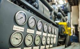 Indicadores de presión industriales Foto de archivo libre de regalías