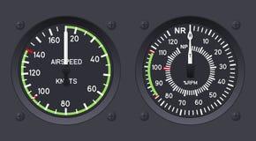 Indicadores de velocidade aerodinâmica do helicóptero ilustração stock