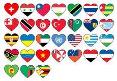 Banderas del corazón fijadas libre illustration