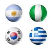Indicadores del grupo B de la taza de mundo del fútbol en balones de fútbol Foto de archivo
