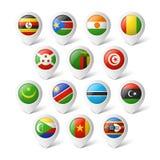 Indicadores del mapa con las banderas. África. Fotos de archivo libres de regalías
