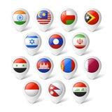 Indicadores del mapa con las banderas. Asia. Imagenes de archivo
