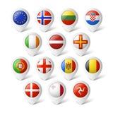 Indicadores del mapa con las banderas. Europa. Foto de archivo libre de regalías