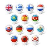 Indicadores del mapa con las banderas. Europa. Imágenes de archivo libres de regalías