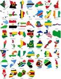 Indicadores del mundo - frontera del país - conjunto de África Imagenes de archivo