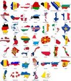 Indicadores del mundo - frontera del país - conjunto de Europa Foto de archivo libre de regalías