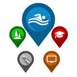 Indicadores determinados del mapa/piscina del perno/parque azul del perno del verde/p rojo Imagen de archivo libre de regalías