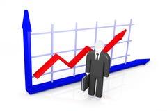 Indicadores do crescimento e figura abstrata do homem de negócios Fotos de Stock