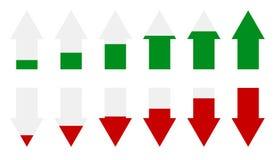 Indicadores llanos de la flecha verde, roja Flechas como marcadores del funcionamiento stock de ilustración