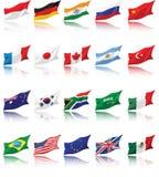Indicadores nacionales de G20 con la sombra Imagen de archivo libre de regalías