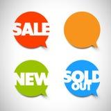 Indicadores para la venta, nuevos, vendidos artículos de la burbuja del discurso Fotos de archivo libres de regalías