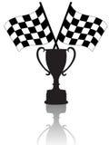 Indicadores y trofeo Checkered de la victoria Foto de archivo