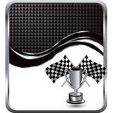 Indicadores y trofeo Checkered en fondo de la onda ilustración del vector