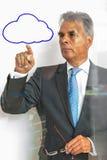 Indicando alla nuvola su vetro Fotografie Stock Libere da Diritti