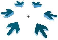 Indicando le frecce 3D rendono Fotografie Stock