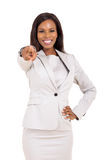 Indicare africano della donna Immagine Stock