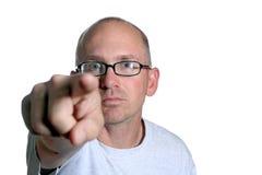 Indicare calvo Eyed blu dell'uomo Fotografie Stock