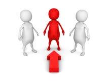 Indicare choice della freccia della persona differente 3d di rosso Fotografia Stock Libera da Diritti