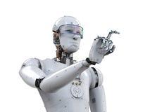 Indicare del dito del robot Fotografia Stock Libera da Diritti
