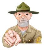 Indicare del sergente istruttore dell'esercito del fumetto royalty illustrazione gratis