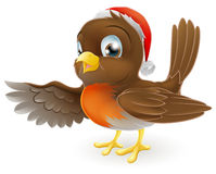 Indicare dell'uccello di Robin di natale illustrazione di stock