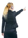 Indicare della donna dell'operatore Fotografie Stock Libere da Diritti