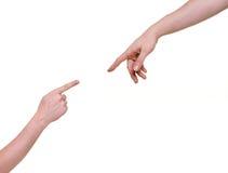 Indicare delle due braccia Fotografia Stock Libera da Diritti