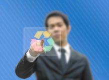 Indicare di concetto dell'uomo di affari ricicla il marchio Fotografia Stock Libera da Diritti