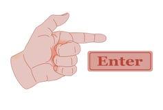 Indicare dito che indica l'entrata immagini stock libere da diritti