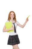 Indicare femminile del giovane studente isolato sopra Fotografia Stock Libera da Diritti
