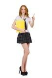 Indicare femminile del giovane studente isolato sopra Immagini Stock Libere da Diritti