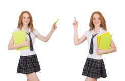 Indicare femminile del giovane studente isolato su bianco Fotografia Stock