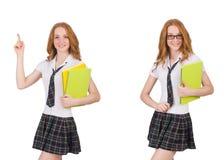 Indicare femminile del giovane studente isolato su bianco Fotografie Stock Libere da Diritti