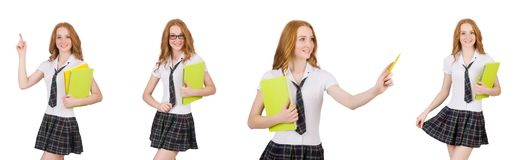 Indicare femminile del giovane studente isolato su bianco Immagini Stock Libere da Diritti