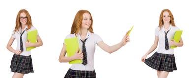 Indicare femminile del giovane studente isolato su bianco Immagine Stock Libera da Diritti