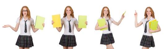 Indicare femminile del giovane studente isolato su bianco Immagine Stock