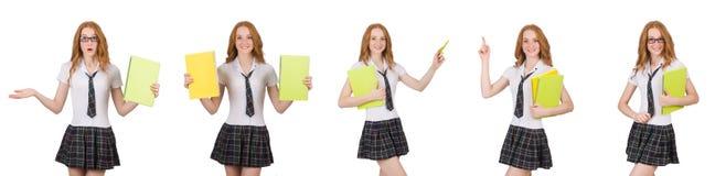 Indicare femminile del giovane studente isolato su bianco Immagini Stock