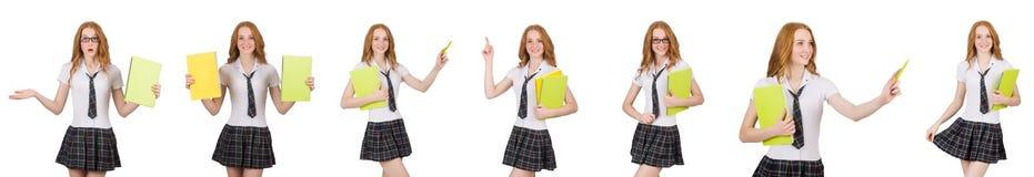 Indicare femminile del giovane studente isolato su bianco Fotografia Stock Libera da Diritti