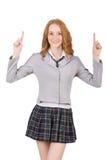 Indicare femminile del giovane studente isolato su bianco Fotografie Stock