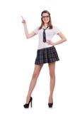 Indicare femminile del giovane studente piacevole sopra Fotografia Stock Libera da Diritti