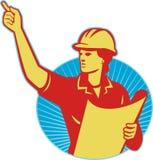 Indicare femminile dell'operaio di costruzione dell'assistente tecnico retro Fotografie Stock Libere da Diritti