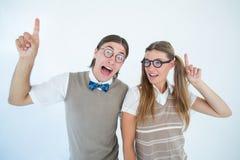 Indicare Geeky dei pantaloni a vita bassa fotografia stock libera da diritti