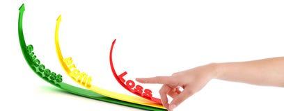 Indicare gesto di mano con le frecce profitti e perdite immagine stock libera da diritti