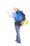 Indicare giovane turista femminile Fotografia Stock