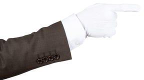 Indicare gloved della mano di Butler fotografie stock