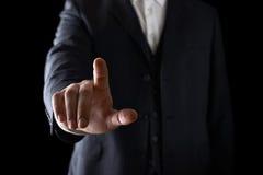 Indicare la composizione nel primo piano del dito Immagine Stock Libera da Diritti