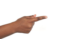 Indicare mano africana Immagini Stock