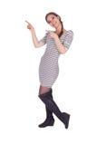 Indicare ragazza in vestito Fotografia Stock Libera da Diritti